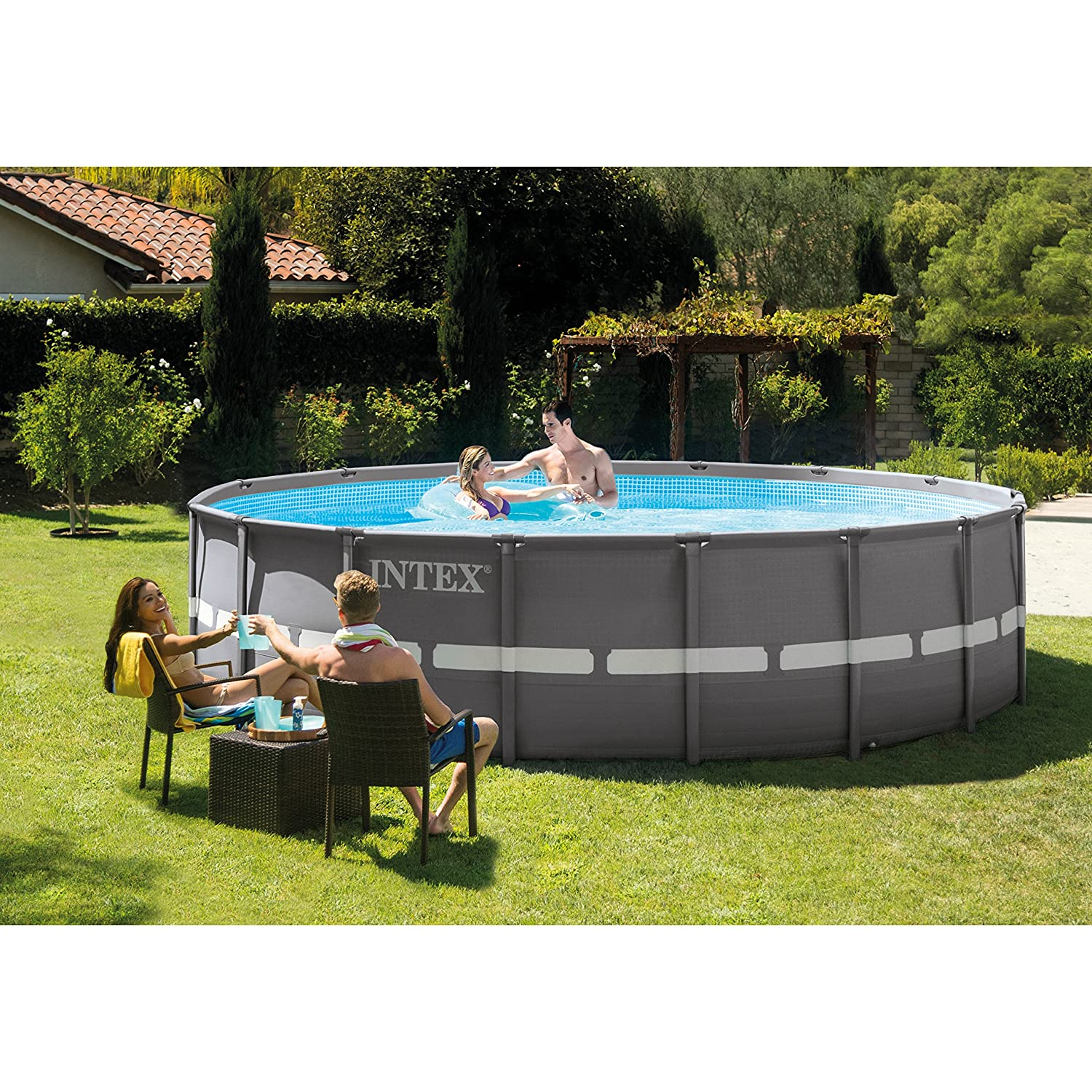 Amazon.com : Intex 16ft X 48in Ultra Frame Pool Set with Sand Filter ...