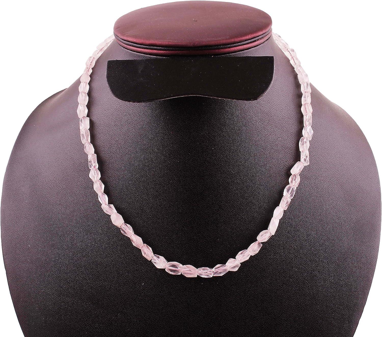 Neerupam Collection Natural Cuarzo Rosa Collar de Perlas de Piedras Preciosas para Mujeres y niñas