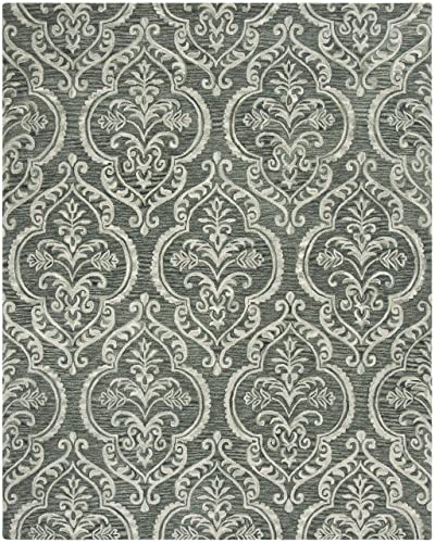 Safavieh Blossom Collection Blue and Sage Premium Wool Area Rug, 8 x 10