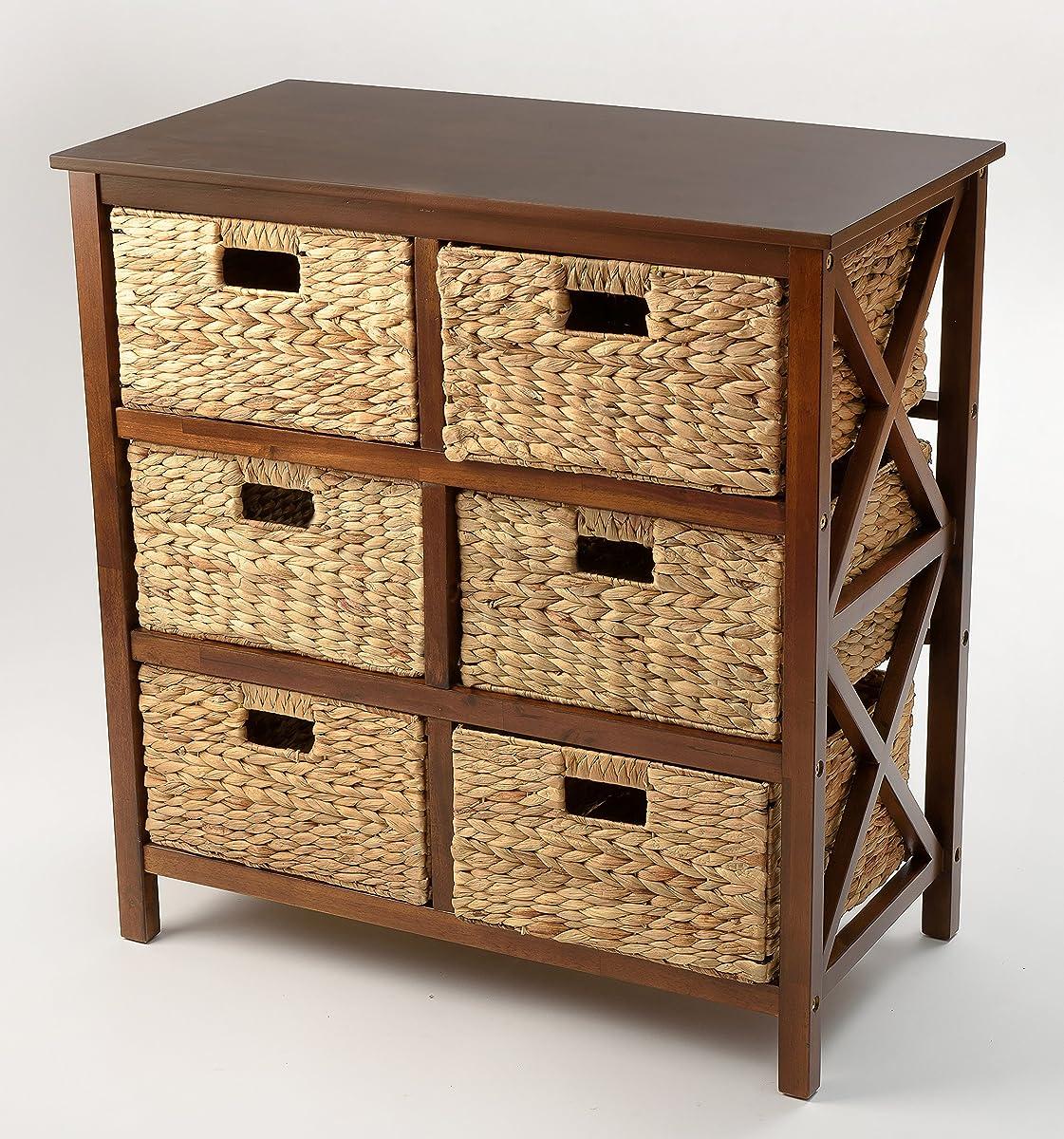 3 Tier X-Side Storage Cabinet with 6 Baskets (Walnut)