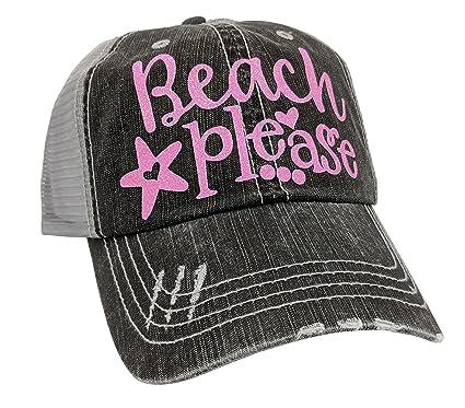 Loaded Lids Women s Beach Please Distressed Bling Baseball Cap (Grey Pink) 11bb2dea829