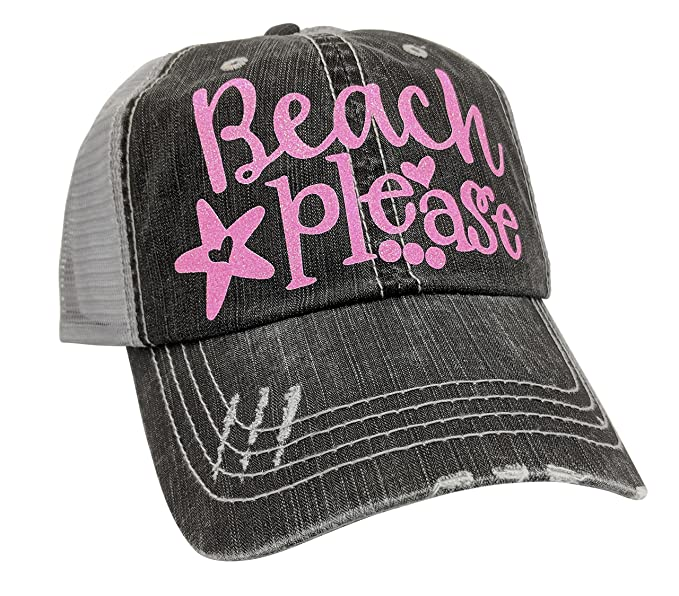 Loaded Lids Women s Beach Please Distressed Bling Baseball Cap (Grey Pink) c90598fe7a55
