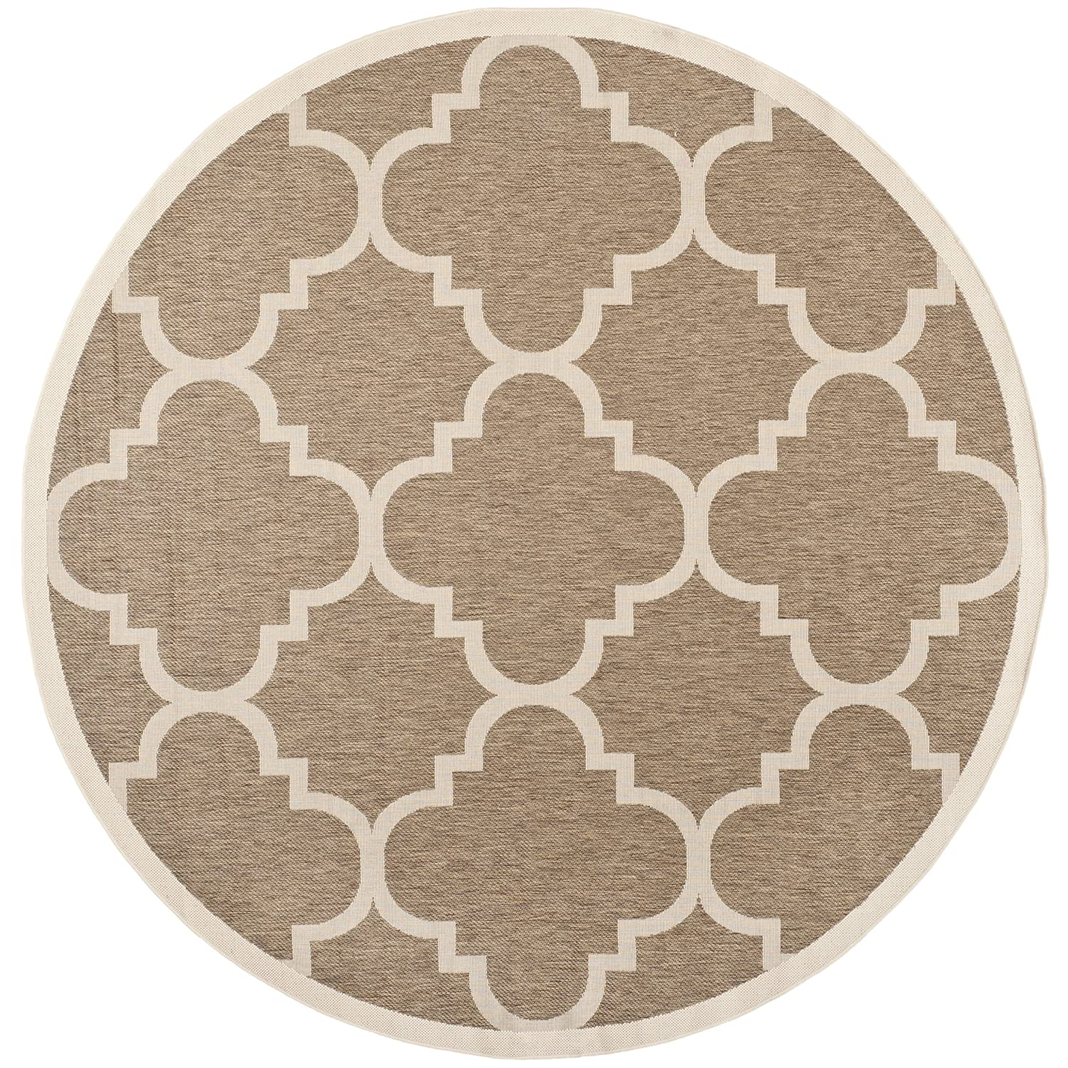 Modern Round Rug Brown Tan Indoor Outdoor Area Accent 5