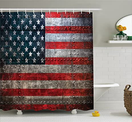 Amazon.com: American Flag Shower Curtain by Ambesonne, Royalty Flag ...