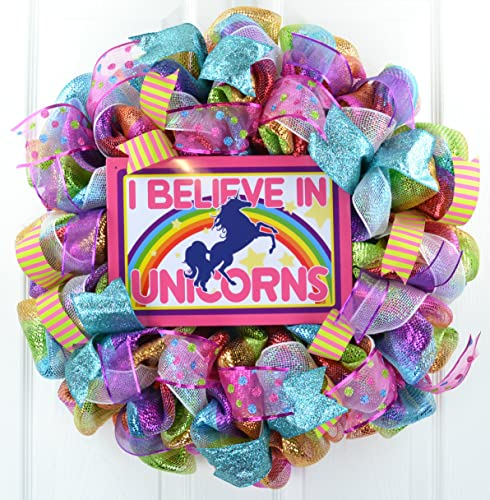 Amazon.com: Unicorn Wreath | Girls Room Decor | Unicorn ...