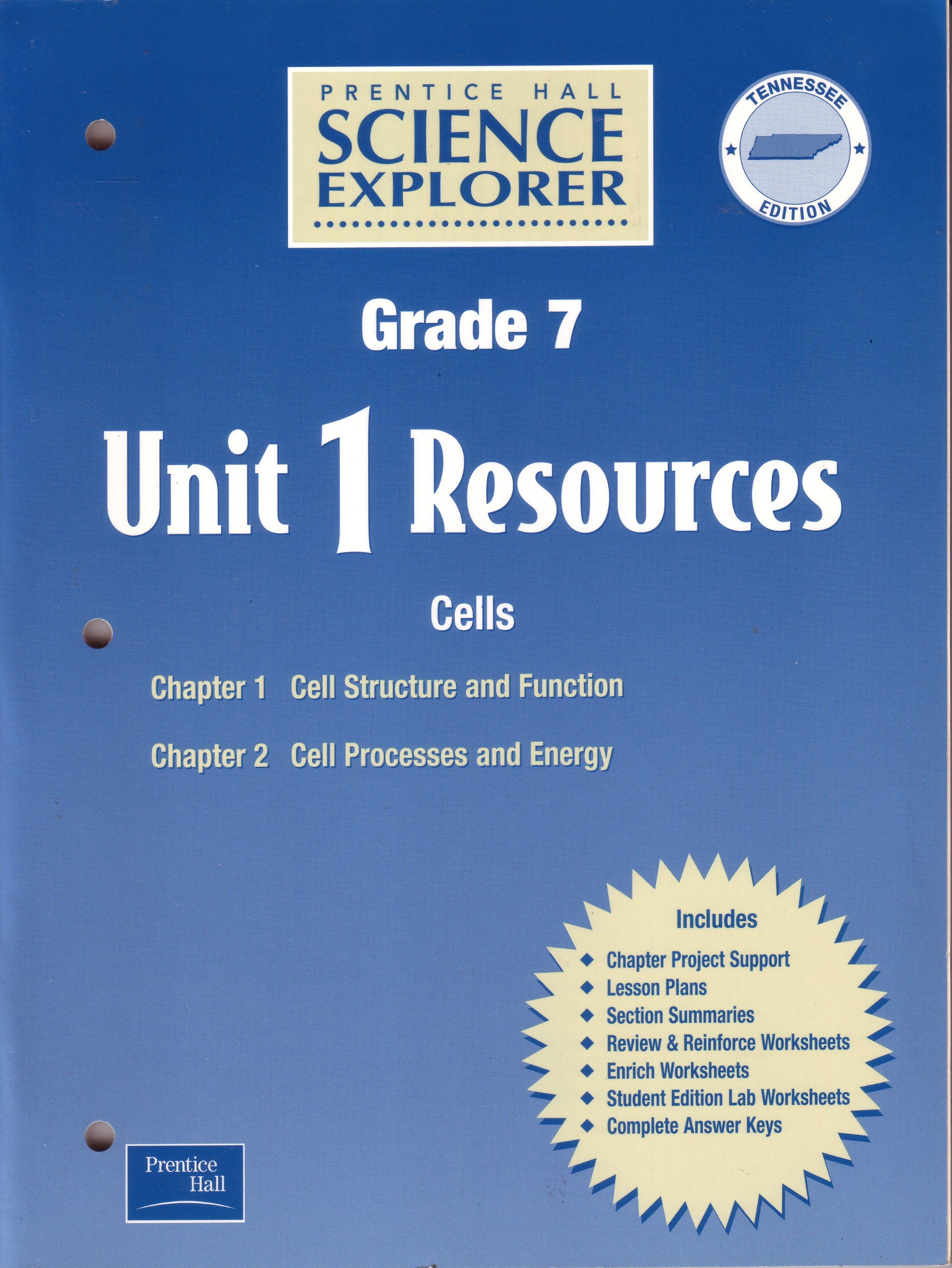 Science Explorer, Grade 7: Tennessee Unit 1 Resources, Chapters 1-2 ...