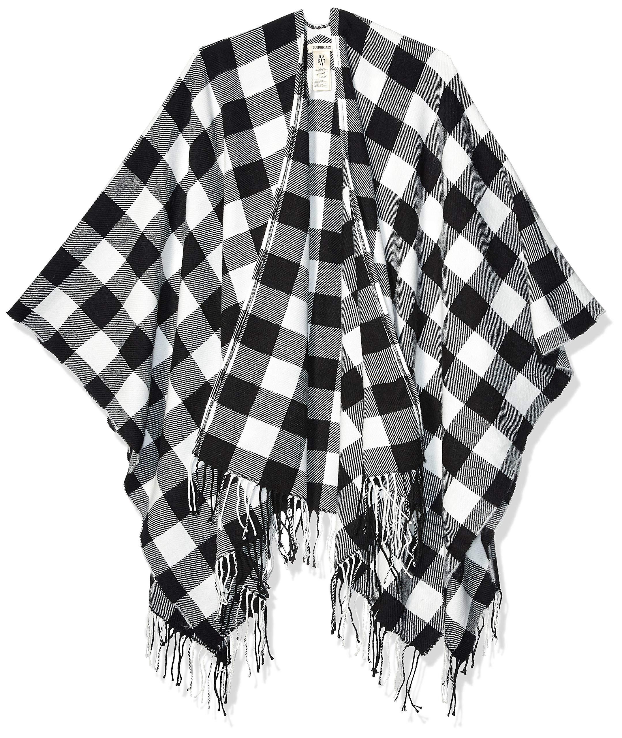 Amazon Brand - Goodthreads Women's Fringe Ruana Wrap, Cream/Black Buffalo Plaid One Size by Goodthreads