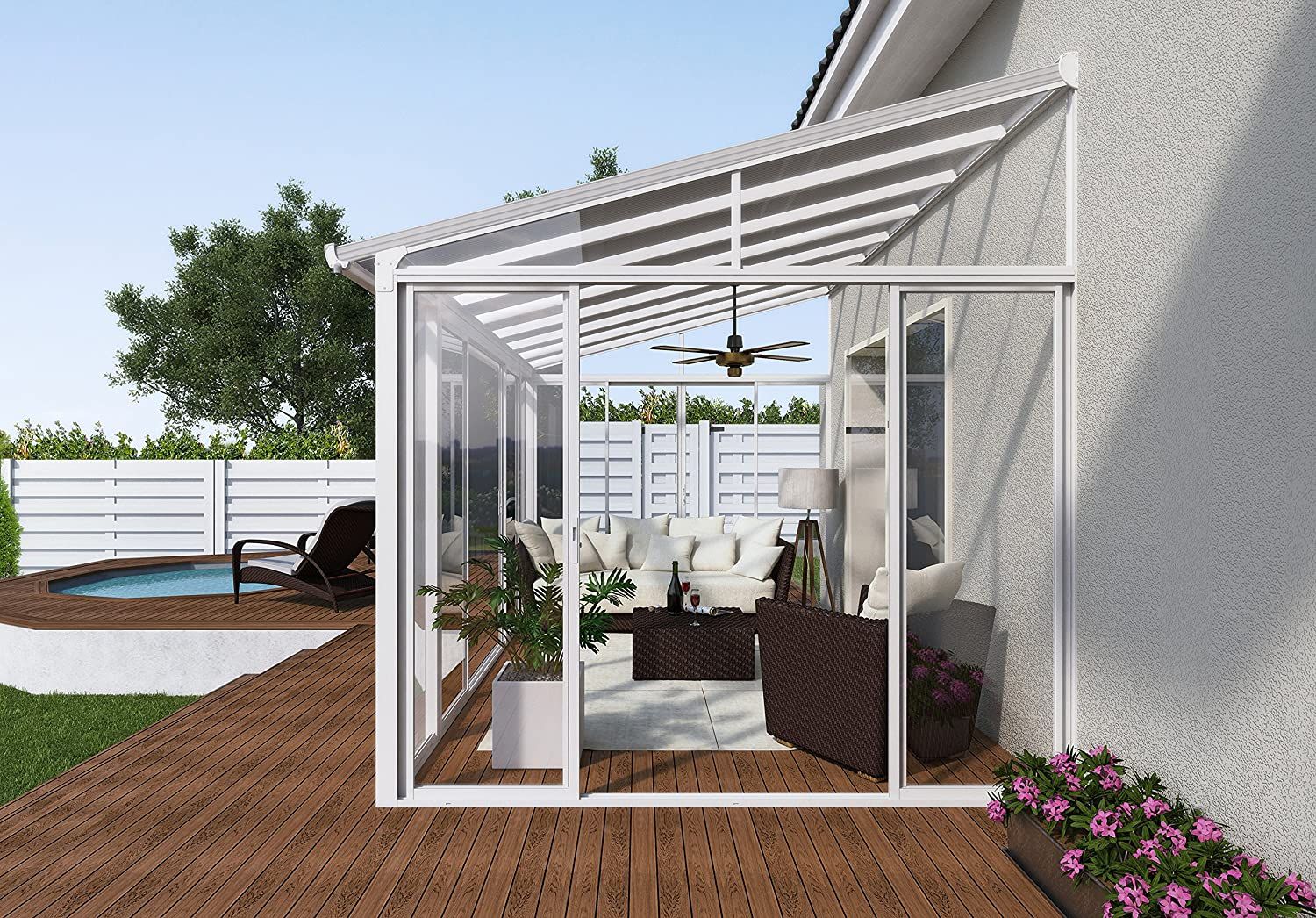 Amazon.com : Palram SanRemo Patio Enclosure, 14u0027L X 10u0027W X 7u0027H, White :  Garden U0026 Outdoor