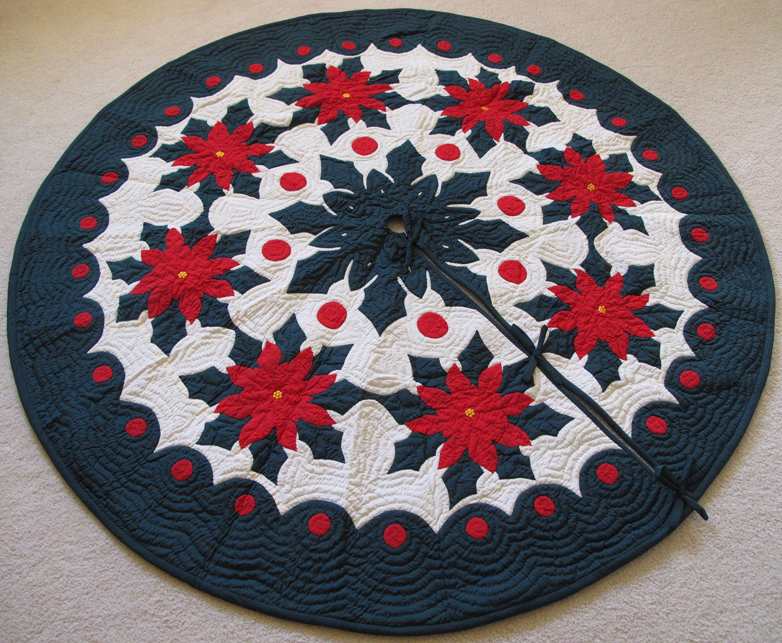 Hawaiian Quilt 100% Hand Quilted and 100% Hand Appliqued Christmas Tree Skirt 60''