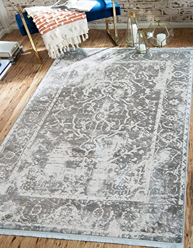 Unique Loom New Classical Collection Traditional Distressed Vintage Classic Gray Area Rug 9 0 x 12 0