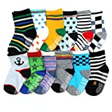 Amazon Price History for:ShoppeWatch 12 Pairs Baby Toddler Socks with Grips Anti-Slip Non-Skid Bottoms For Kids Infant Babies Boys 2T and 3T Walkers BBSK41B
