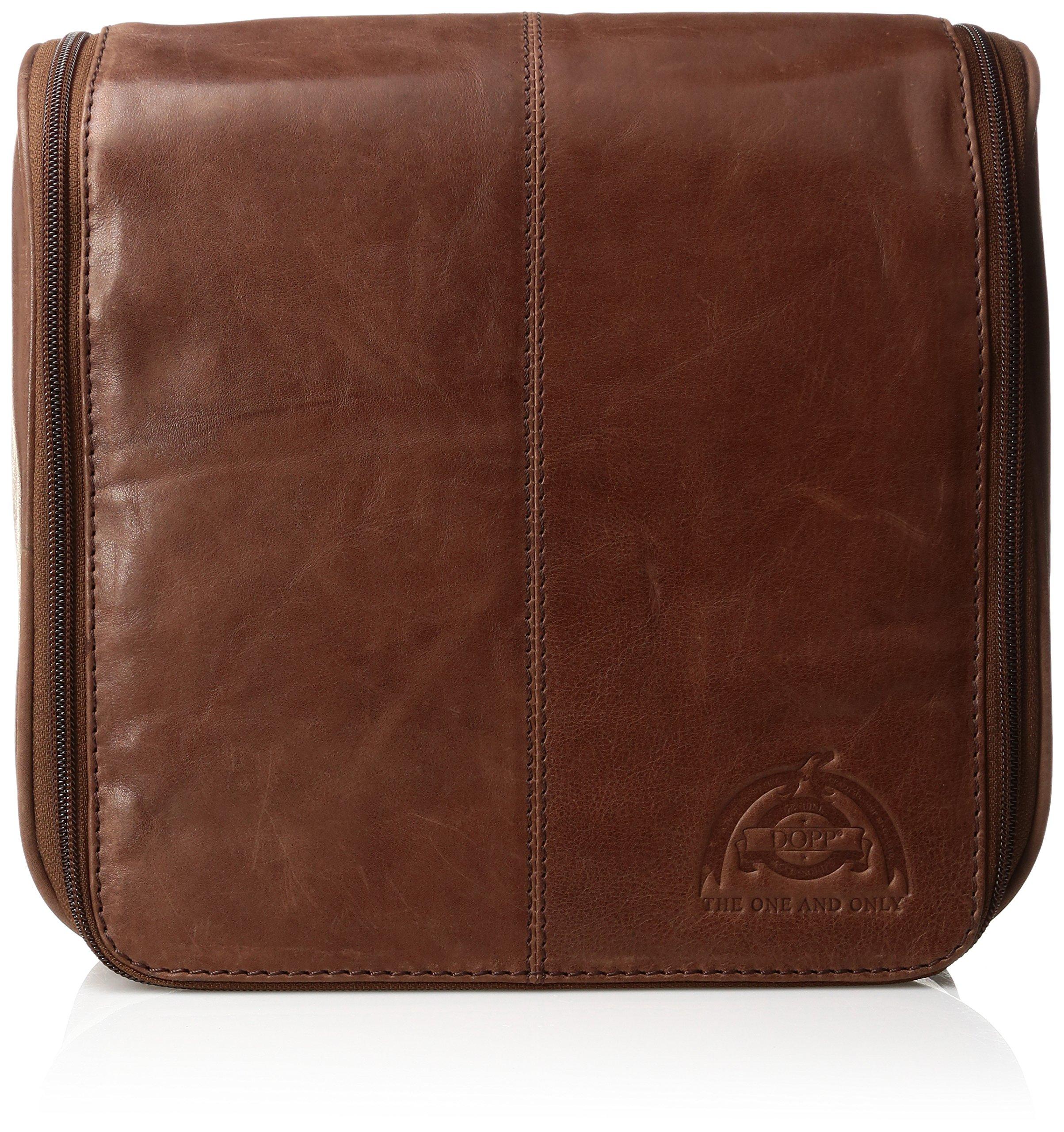 Dopp Men's Carson Hanging Travel Kit-Leather, Dark Brown