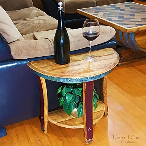 Half Moon Sofa End Table – Wine Barrel Handcrafted – Central Coast Creations – Wine Barrel Furniture