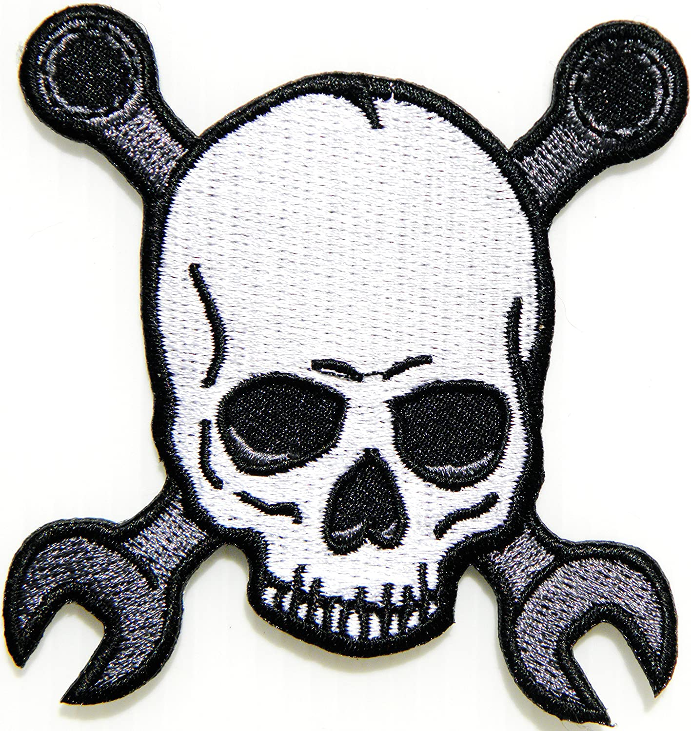 """XL SKULL /& WRENCH Crossbones Large Embroidered Patch IRON ON Motorcycle 11/"""""""