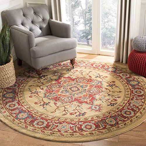 "Safavieh Mahal Collection MAH698A Traditional Oriental Red and Natural Round Area Rug 6'7"" Diameter"