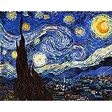 Legendarte P-186 Quadro di  Vincent Van Gogh - Notte Stellata, Stampa digitale su tela, Multicolore, cm. 80 x 100