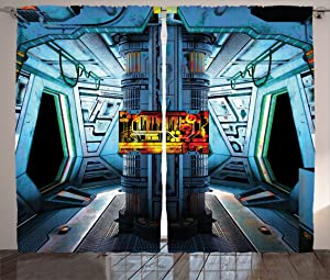 """Ambesonne Outer Space Curtains, Space Ship Station Base Control Room Technology Elements Features Image, Living Room Bedroom Window Drapes 2 Panel Set, 108"""" X 84"""", Blue Black"""