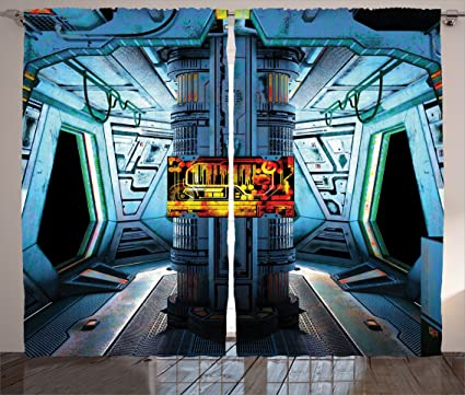 Ambesonne Outer Space Decor Curtains Ship Station Base Control Room With Technology Elements Features