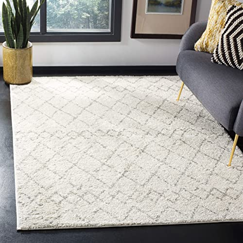 Safavieh Berber Shag Collection BER165C Cream and Light Grey Area Rug 8 x 10