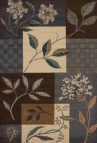 Manhattan Jasmine Light Blue Tan Rug Rug Size 5 3 x 7 6