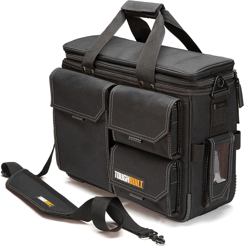 """ToughBuilt - Quick Access Laptop Bag + Shoulder Strap - Contractor Briefcase, Computer Bag, Large -Fits 13"""" - 17"""" Laptops, ClipTech Pouch Compatible, Rugged Construction - (TB-EL-1-L2)"""