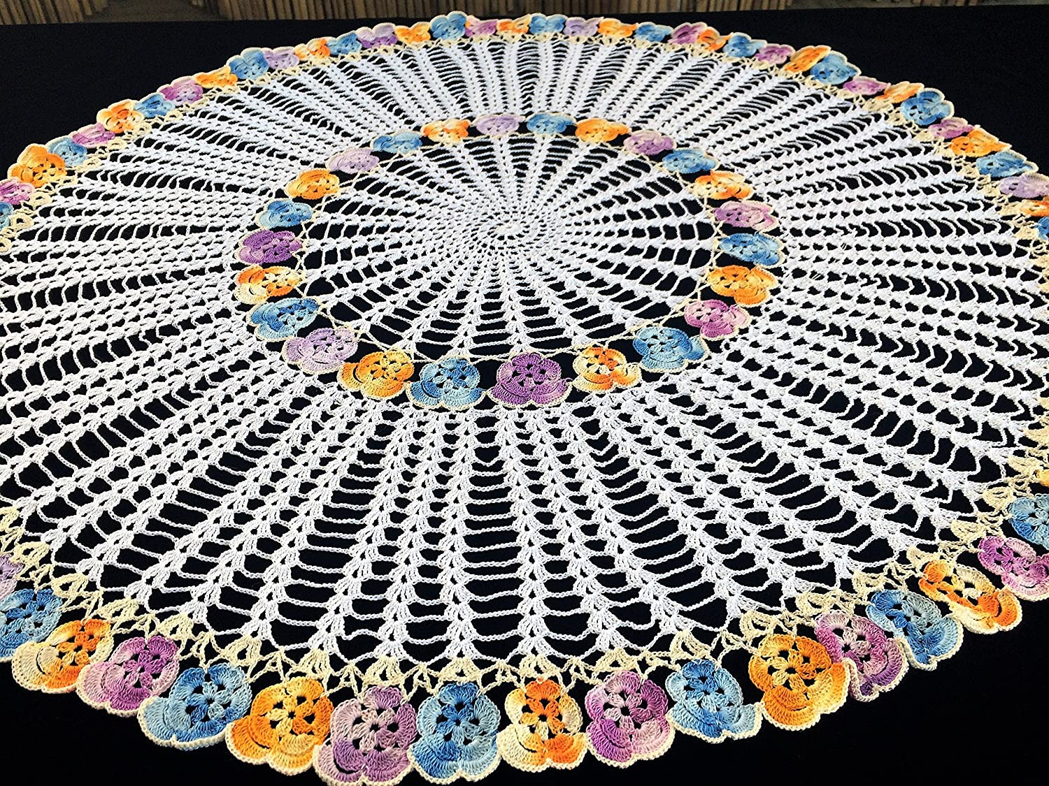 Amazoncom Crocheted Pansies Tablecloth New Lace Tablecloth Round