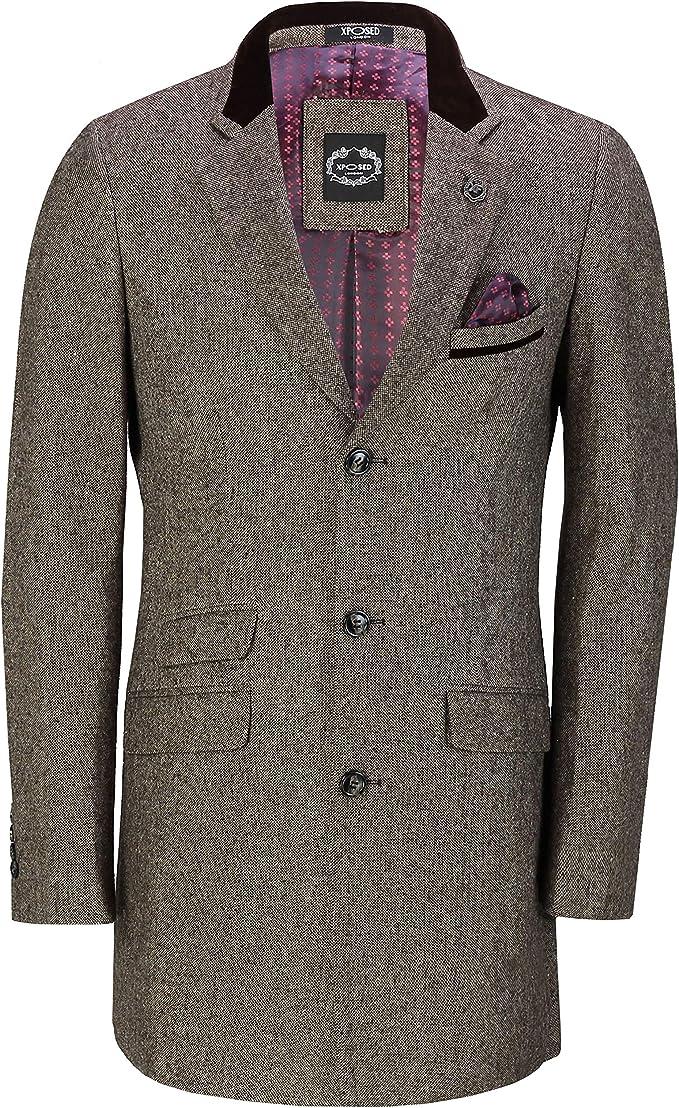 Xposed - Abrigo largo de tweed para hombre, 3/4, estilo vintage, ajuste a medida, para hombre