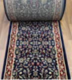 "163129 - 26"" Wide Stair Runner - ********ORDER THE LENGTH OF YOUR RUNNER IN FOOTAGE IN THE QUANTITY TAB - EACH QUANTITY EQUALS 1 FOOT******** - Rug Runners by the Foot - Rug Depot Traditional Area Rugs and Stair/Hall Runners - Navy Background - Machine Made of 100% Polypropelene - Stairrunners and Hallrunners - Less Than 500,000 Points - T-4 Quality Rating - Stair Runners with Matching Area Rugs, Hall Runners, Round Rugs and Stair Treads - Emerald 01460.42 Navy/Red Kashan"