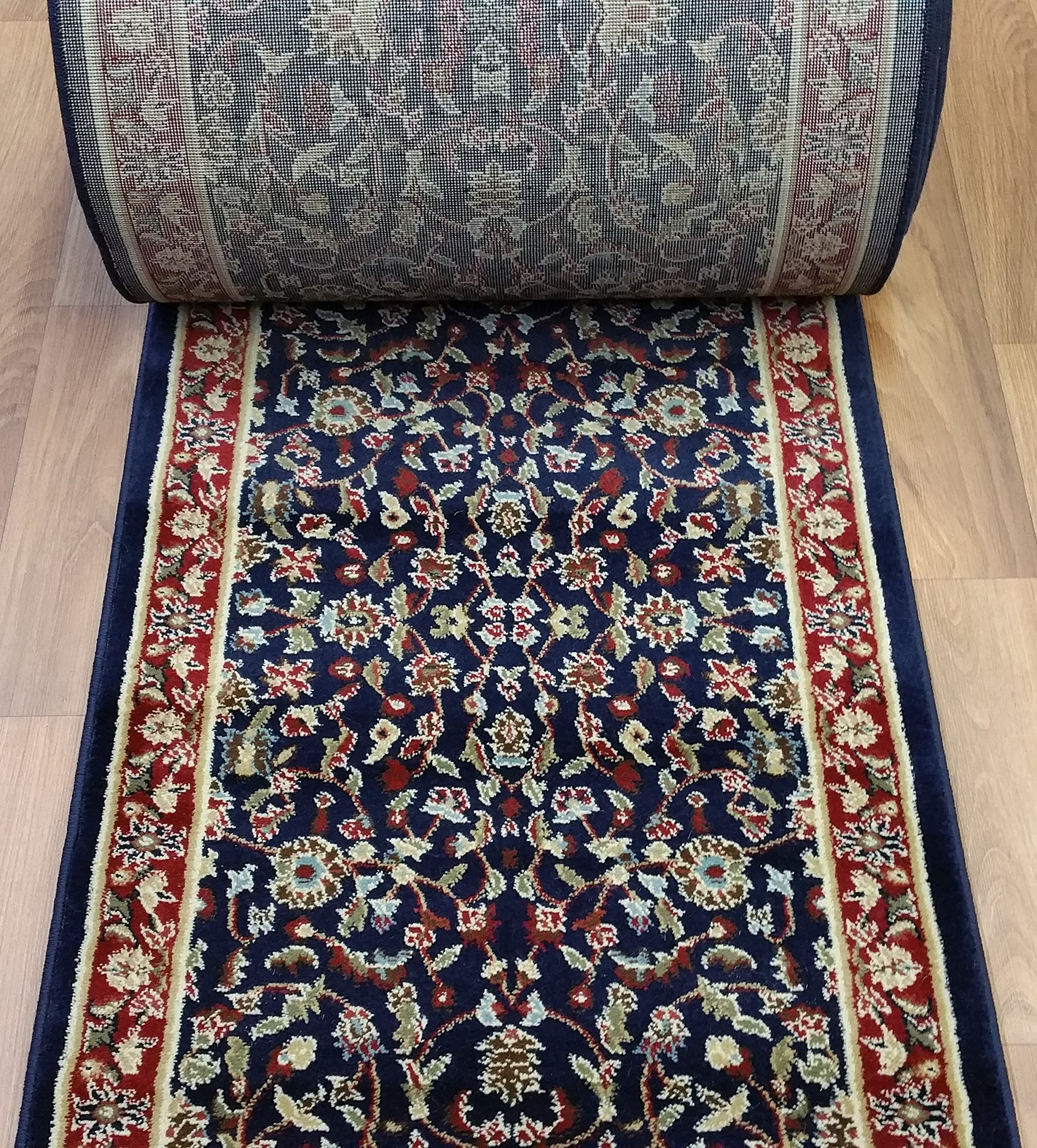 "Rug Depot 163129 Traditional Sold by The Foot Stair Runners and Hall Runners - 26"" Wide Rug Runner - Navy Blue Background - Kashan Design - 100% Polypropylene"