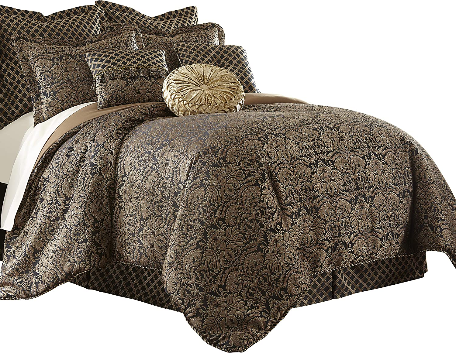 Sterling Creek Valencia 9-Piece Black Gold Floral Jacquard Oversized Comforter Set (King)