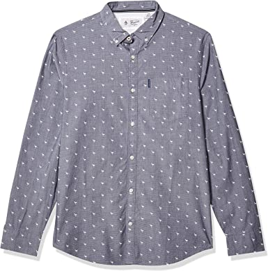 ORIGINAL PENGUIN Camisa de Manga Larga con Botones Impresos para Hombre - Azul - X-Large: Amazon.es: Ropa y accesorios