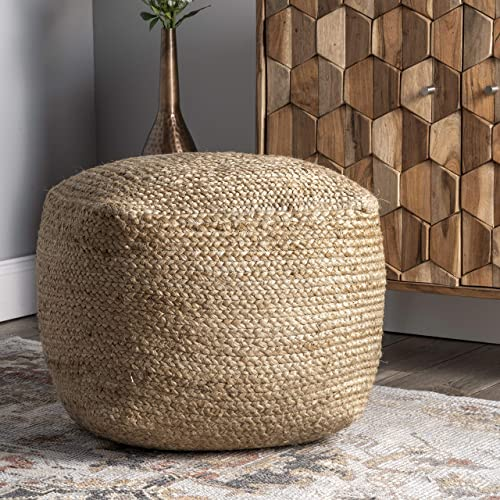 nuLOOM Cork Braided Solid Jute Ottoman Pouf