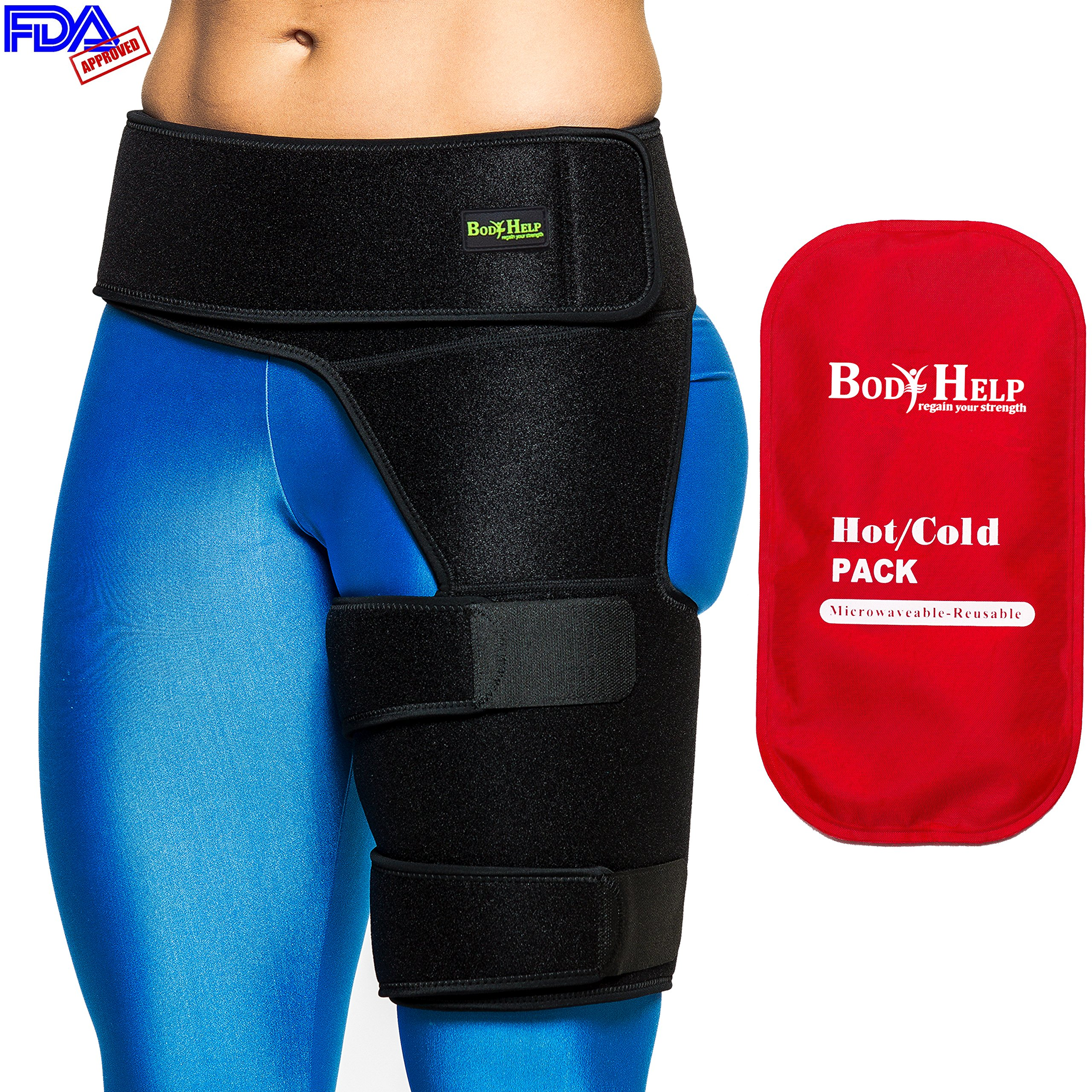 Body Help Hip Brace Support + Red Hot Cold Reusable Pack for Immediate Pain Relief - Best Thigh Belt for Men Women Groin Compression Sleeve Wrap Hamstring Strap for Strain Nerve Sciatic