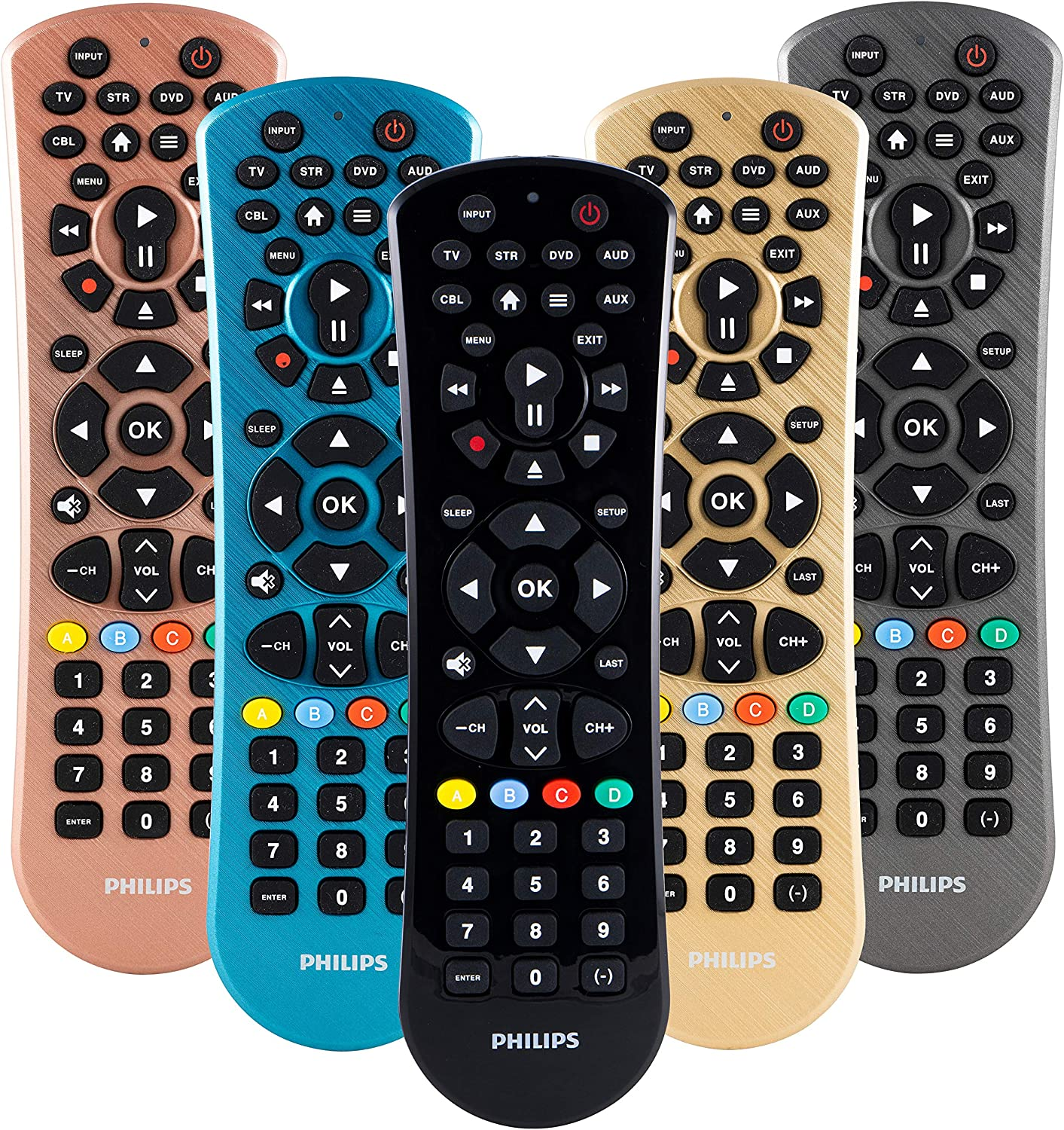 Philips Universal Remote Control for Samsung, Vizio, LG, Sony, Sharp, Roku, Apple TV, RCA, Panasonic, Smart TVs, Streaming Players, Blu-ray, DVD, 6-Device, Black, SRP9263C/27