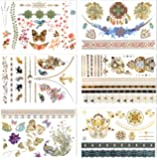 Metallic Temporary Tattoos, PrettyDate 6 Sheets 75+ Designs in Gold Silver Black, Fake Glitter Jewelry Tattoos- Bracelets, Necklaces, Wrist, Anklets and Armbands(Vintage Collection)