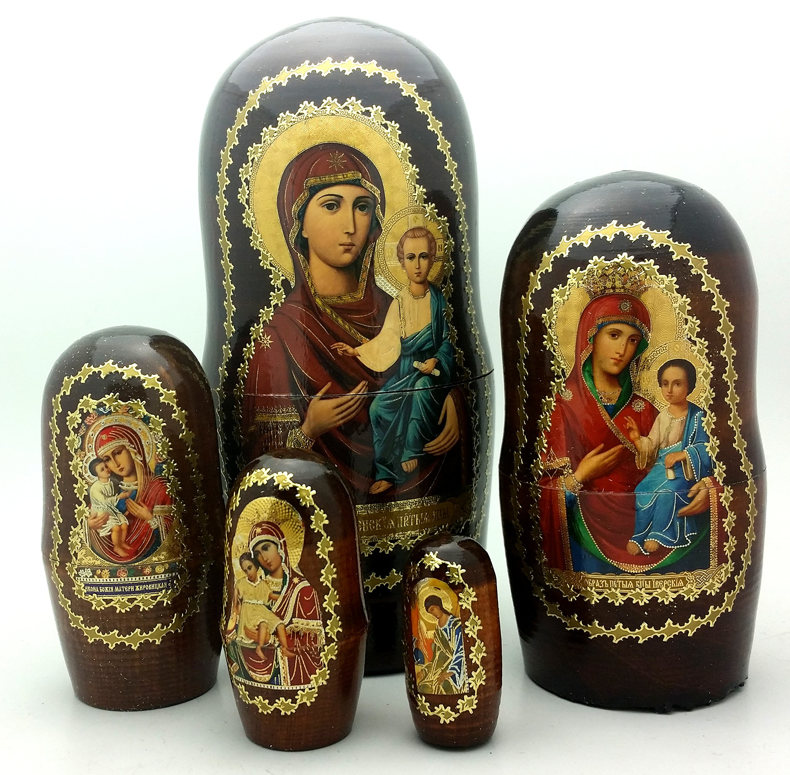 Icons Nesting Doll Set Made in Russia Wood Religion / Holly Mother