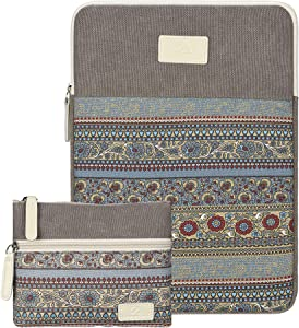 Laptop Sleeve 14/15 Inch Mackbook Pro Case Bohemian Canvas Bag Compatible 15 Inch New MacBook Pro with Touch Bar A1707 | A1990 14 Inch ThinkPad Laptop with Small Bag case (Light Grey)