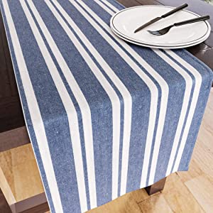 Encasa Homes Table Runner for 8-Seater Dining - Franca Blue Stripes - 13 x 72 inch - Rustic Farmhouse Decor Eco-Friendly Cotton, Decorative Homespun Plaid Cloth for Party, Restaurant & Outdoors