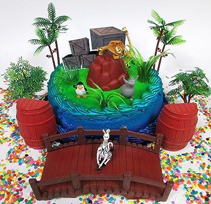 Amazon.com: Madagascar torta de cumpleaños Topper Set con ...