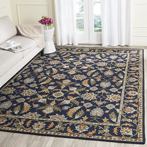 Safavieh Blossom Collection BLM219A Handmade Navy Premium Wool Area Rug 8' x 10'