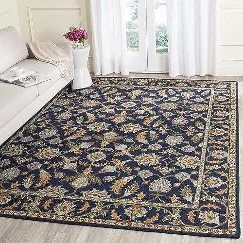 Safavieh Blossom Collection BLM219A Handmade Navy Premium Wool Area Rug 8 x 10