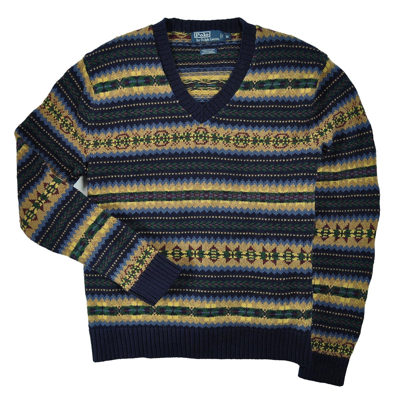 9202cef5 Polo Ralph Lauren Men's Fair Isle Striped V-neck Sweater, Navy/Multi ...