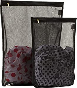 TENRAI 2 Pack (1 Large & 1 Medium) Delicates Laundry Bags, Bra Fine Mesh Wash Bag, Zippered, Protect Best Clothes in The Washer (2 Black)