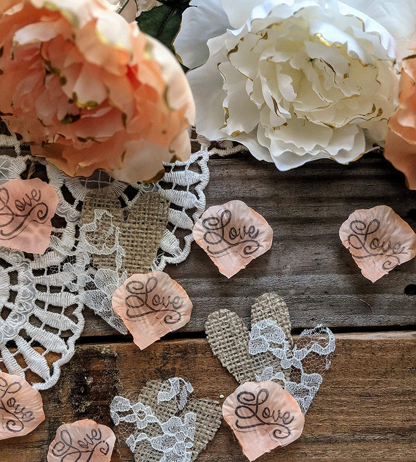 Rustic Wedding Table Decorations Rustic Bridal Shower Decor Burlap And Lace Heart Confetti Sweetheart Table Decor