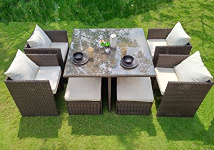WEATHERPROOF Outdoor Patio 9-piece Furniture Dining Set, All-Weather Wicker - Amazon.com: WEATHERPROOF Outdoor Patio 9-piece Furniture Dining Set