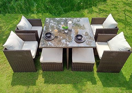 WEATHERPROOF Outdoor Patio 9 Piece Furniture Dining Set, All Weather Wicker