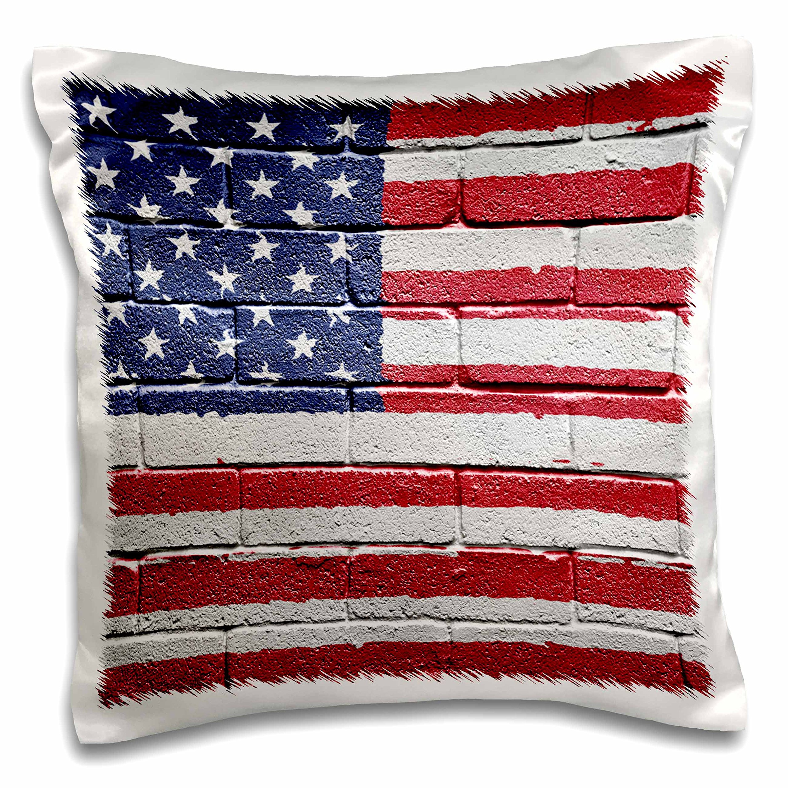 3dRose USA America American Flag on Brick Wall National Country - Pillow Case, 16 by 16-inch (pc_155121_1)
