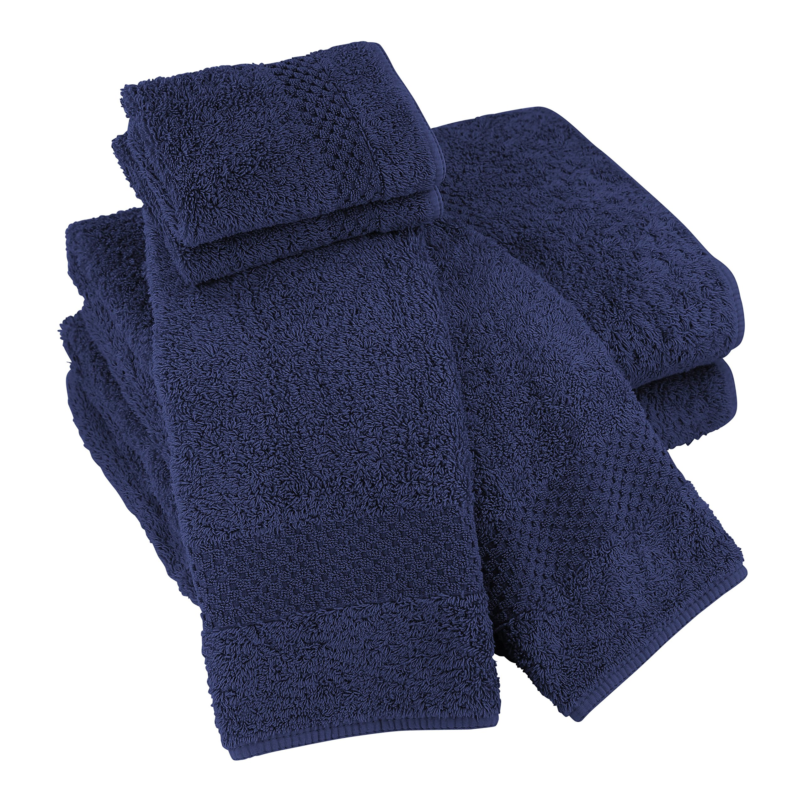 Luxor Linens Sylvano Hotel 100% Giza Combed Egyptian Cotton 700 GSM Luxury Solid 6-Piece Spa Towel Sets - Durable, Plush & Absorbent - Made in Portugal - 15 Colors Available - Navy by Luxor Linens
