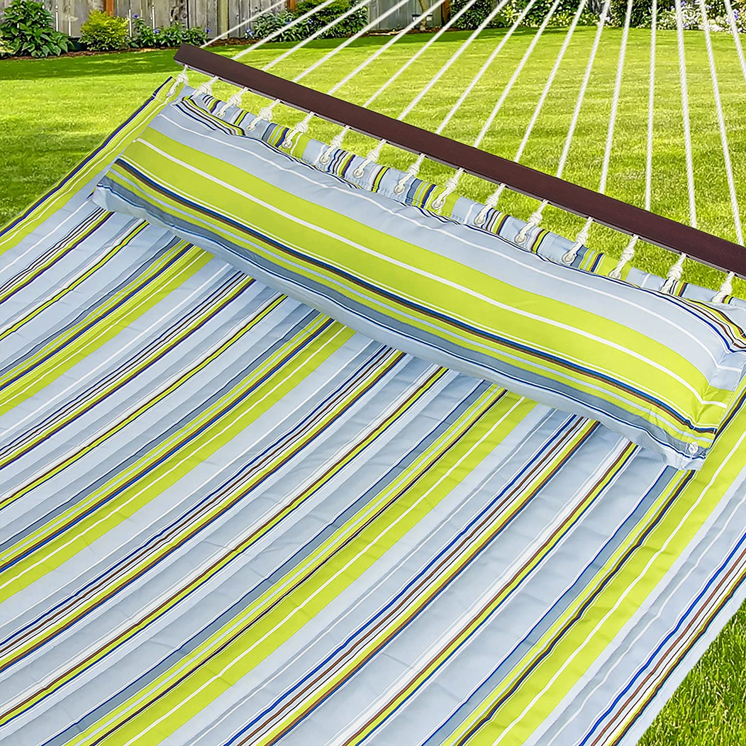 Best Choice Products Double Size Quilted Hammock - 450 lb Weight Capacity - Blue and Green Stripe