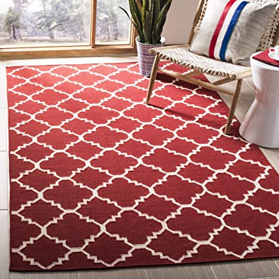Safavieh Dhurries Collection DHU566B Hand Woven Red and Ivory Premium Wool Area Rug (9' x 12')